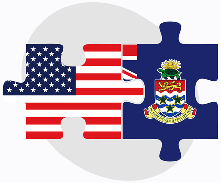 cayman islands: Vector Image - USA and Cayman Islands Flags in puzzle isolated on white background