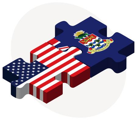 cayman: Vectoriel - �tats-Unis et �les Ca�mans Drapeaux dans le puzzle isol� sur fond blanc Illustration