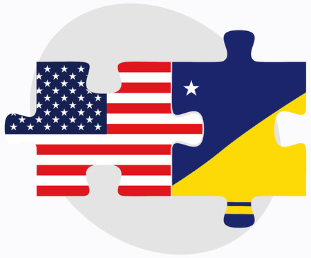 tokelau: Vector Image - USA and Tokelau Flags in puzzle isolated on white background