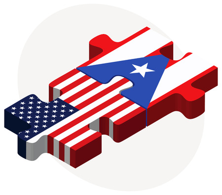 puerto rico: Vector Image - USA and Puerto Rico Flags in puzzle isolated on white background Illustration
