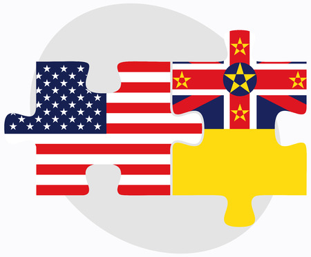 niue: Vector Image - USA and Niue Flags in puzzle isolated on white background Illustration