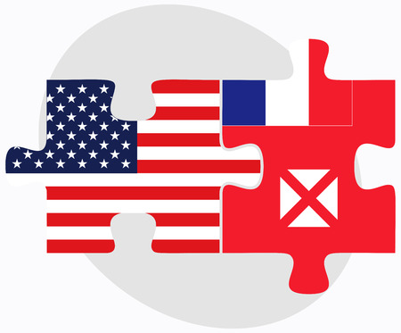wallis: USA and Wallis and Futuna Flags in puzzle isolated on white background