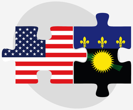 guadeloupe: USA and Guadeloupe Flags in puzzle isolated on white background
