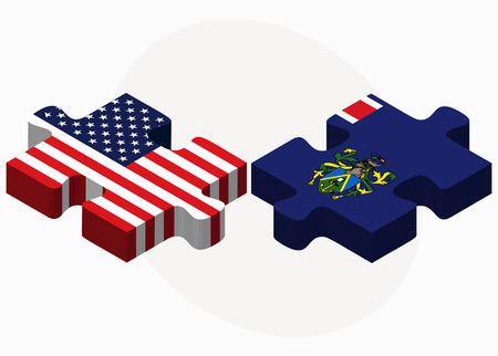 pitcairn: USA and Pitcairn Islands Flags in puzzle isolated on white background