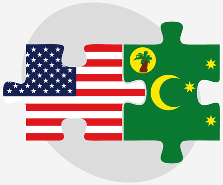 cocos: USA and Cocos (Keeling) Islands Flags in puzzle isolated on white background