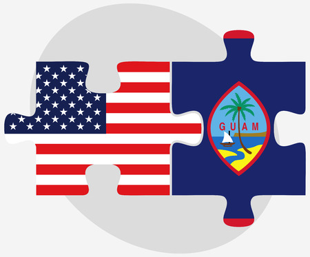 filipino: USA and Guam Flags in puzzle isolated on white background