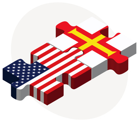 guernsey: USA and Guernsey Flags in puzzle isolated on white background