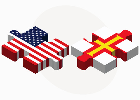bailiwick: USA and Guernsey Flags in puzzle isolated on white background