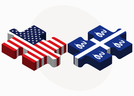 martinique: USA and Martinique Flags in puzzle isolated on white background