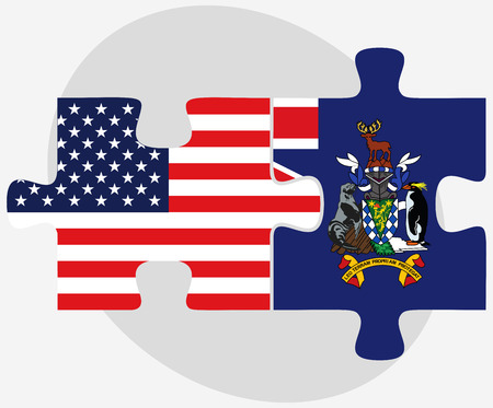 sandwich white background: USA and South Georgia and the South Sandwich Islands Flags in puzzle isolated on white background