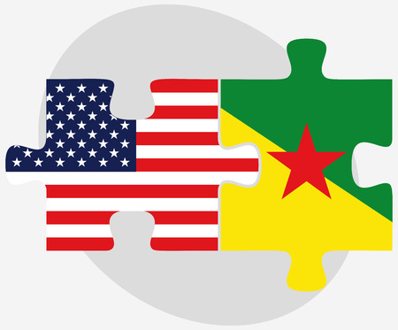 USA and French Guiana Flags in puzzle isolated on white background Vector