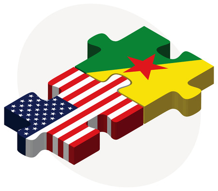 french guiana: USA and French Guiana Flags in puzzle isolated on white background Illustration
