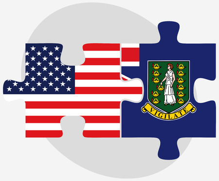 virgin islands: USA and British Virgin Islands Flags in puzzle isolated on white background Illustration