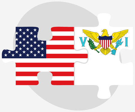 virgin islands: USA and United States Virgin Islands Flags in puzzle isolated on white background