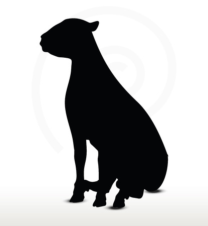 sitter: sheep silhouette with sitting pose isolated on white background