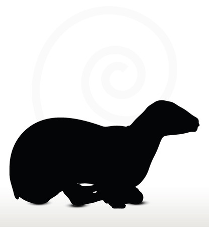 back lit: sheep silhouette with laying pose isolated on white background Illustration