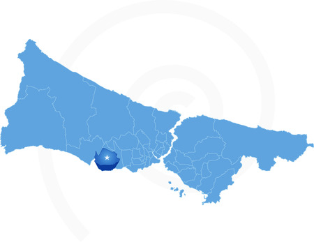 Map of Istanbul with each administrative district where Beylikduzu is pulled out isolated on white background