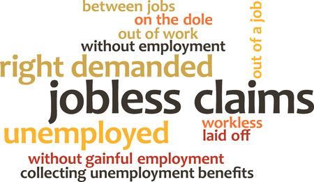 reclamos: ilustraci�n de nubes de palabras de la palabra Peticiones de desempleo aislados sobre fondo blanco