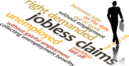 illustration in word clouds of the word Jobless Claims isolated on white background
