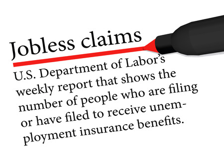 term underlined in red color by a pen of the Jobless Claims isolated on white background