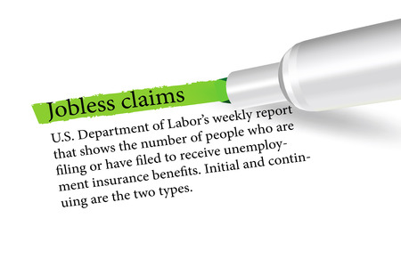 workless: Vector Image - term overlined in green color by a pen of the Jobless Claims isolated on white background