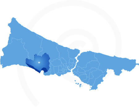 districts: Vector Image - Istanbul Map with administrative districts where Buyukcekmece is pulled isolated on white background