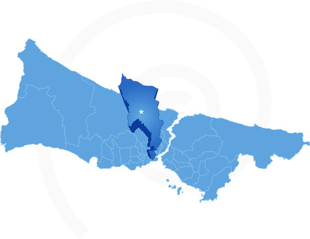 districts: Istanbul Map with administrative districts where Eyup is pulled isolated on white background