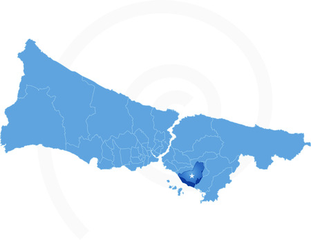 districts: Istanbul Map with administrative districts where Kartal is pulled isolated on white background Illustration