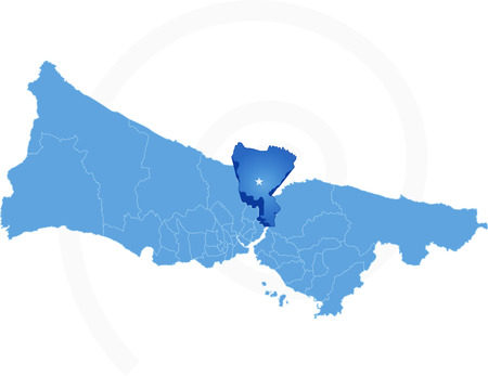 districts: Istanbul Map with administrative districts where Sariyer is pulled isolated on white background