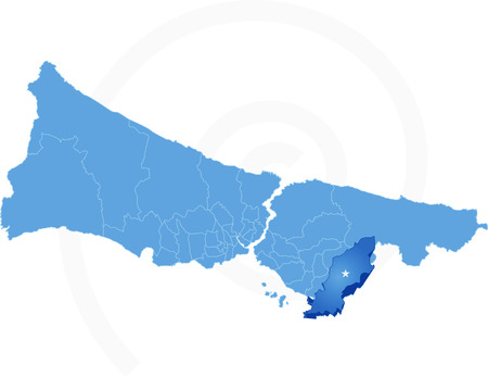 land mark: Istanbul Map with administrative districts where Tuzla is pulled isolated on white background Illustration