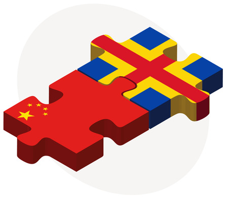 asian business team: China and Aaland Islands Flags in puzzle isolated on white background