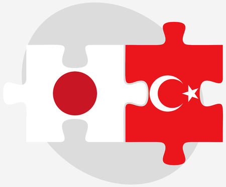 nihon: Japan and Turkey Flags in puzzle isolated on white background Illustration