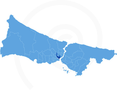 beyoglu: Istanbul Map with administrative districts where Beyoglu is pulled isolated on white background