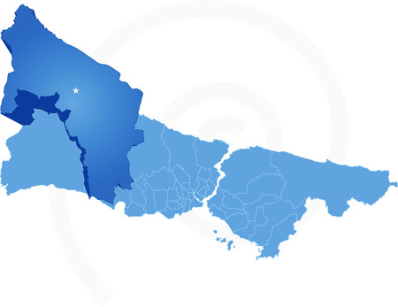 districts: Istanbul Map with administrative districts where Catalca is pulled isolated on white background Illustration