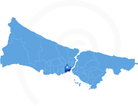 districts: Istanbul Map with administrative districts where Fatih is pulled isolated on white background