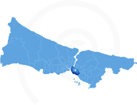 districts: Vector Image - Istanbul Map with administrative districts where Kadikoy is pulled isolated on white background Illustration