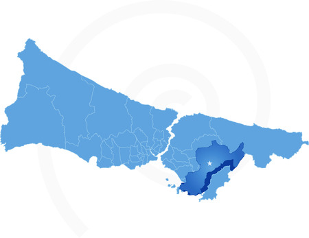 districts: Istanbul Map with administrative districts where Pendik is pulled isolated on white background