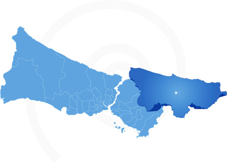 Vector Image - Istanbul Map with administrative districts where Sile is pulled isolated on white background