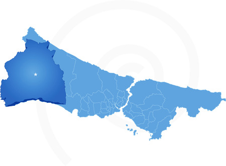 districts: Istanbul Map with administrative districts where Silivri is pulled isolated on white background