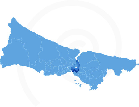 districts: Istanbul Map with administrative districts where Uskudar is pulled isolated on white background