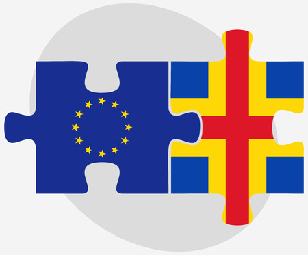 europa: European Union and Aaland Islands Flags in puzzle isolated on white background