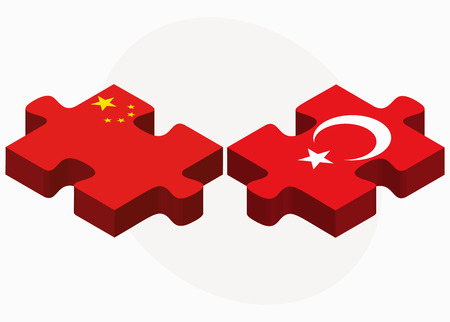 asian business team: China and Turkey Flags in puzzle isolated on white background