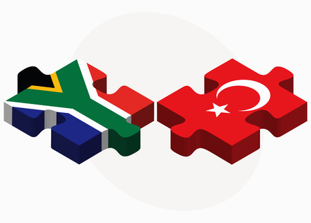 cape town: South Africa and Turkey Flags in puzzle isolated on white background