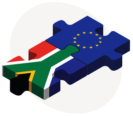 cape town: Vector Image - South Africa and European Union Flags in puzzle isolated on white background