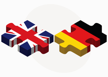 Vector Image - United Kingdom and Germany Flags in puzzle isolated on white background