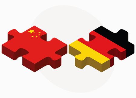 ベクトル画像 - 中国とドイツのフラグのパズルに孤立した白い背景
