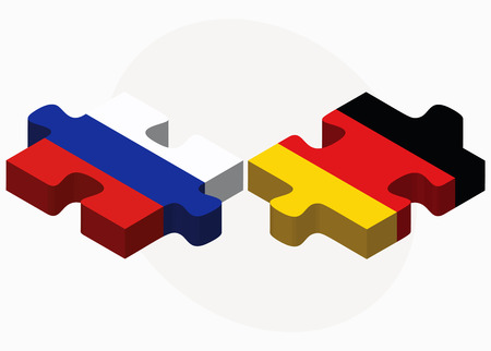 russian federation: Vector Image - Russian Federation and Germany Flags in puzzle isolated on white background