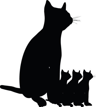 backlit: Vector Image - cat silhouette isolated on white background Illustration