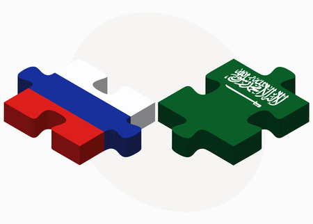 russian federation: Vector Image - Russian Federation and Saudi Arabia Flags in puzzle isolated on white background