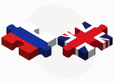 russian federation: Vector Image - Russian Federation and United Kingdom Flags in puzzle isolated on white background